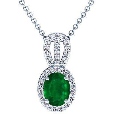 Platinum Oval Cut Emerald And Round Diamond Pendant GemsNY. $4990.00. Save 50%!