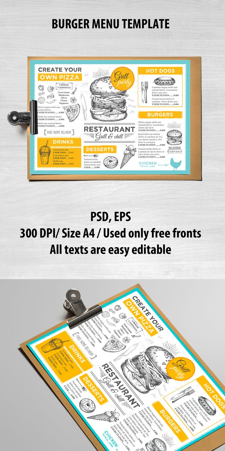 Creative and modern food menu template for your restaurant business.This template can be used for vintage menu, printable menu, wedding menu, restaurant menu, food menu inspiration.