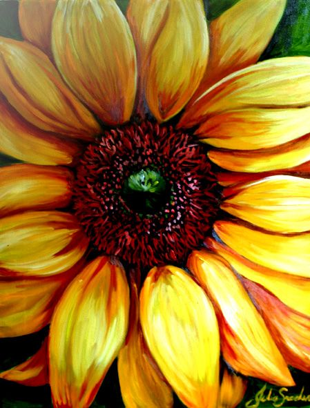 Closeup of Sunflower - Oil Painting by Julie Sneeden