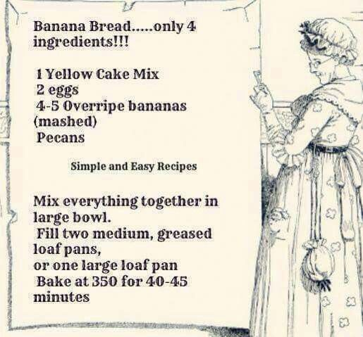 Easy Banana Bread made with Yellow Cake Mix