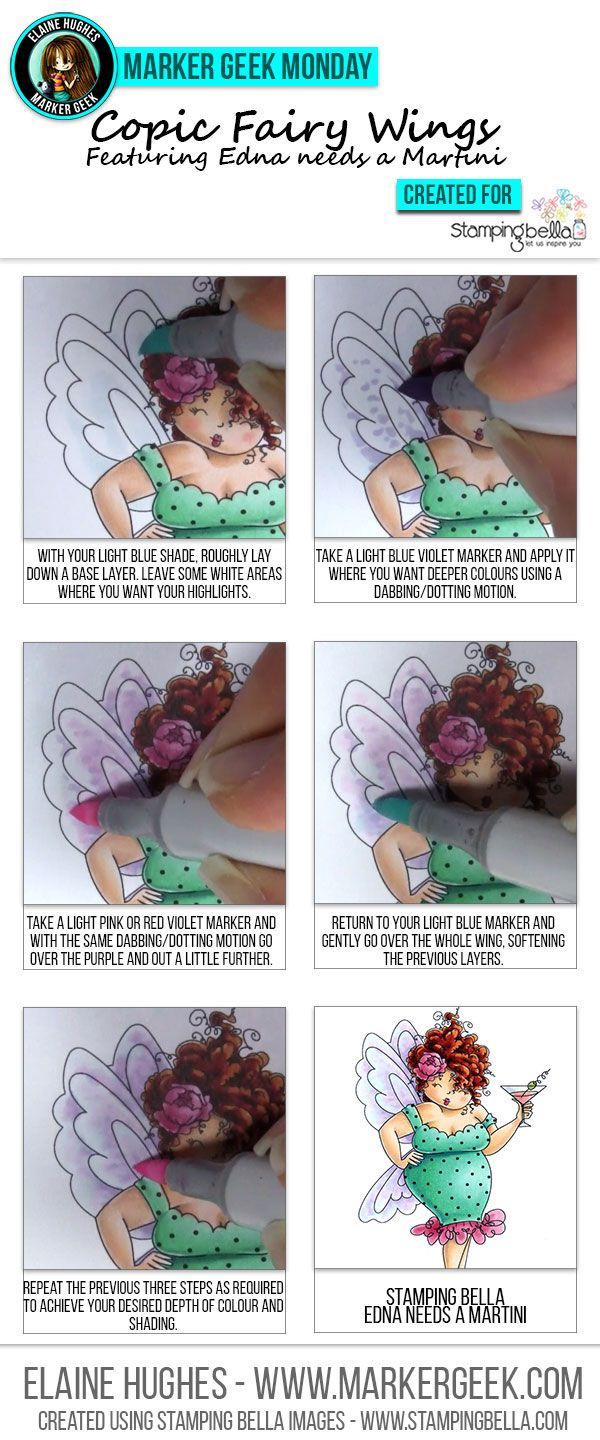 Marker Geek Monday Copic Colouring Quick and Easy Fairy Wings. Click through to see the step by step and watch a video!