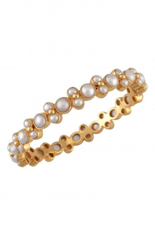 Silver Gold Plated Pearl Bangle