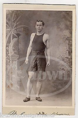 TRACK AND FIELD SPORTS ATHLETE SPRINTERS SPIKES ANTIQUE CABINET CARD PHOTO