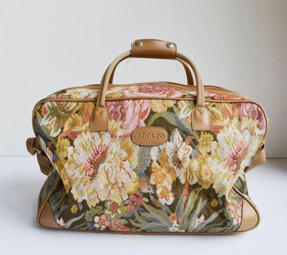 RESERVED For T E R R Y Vintage Floral Print Carry On Bag Adolfo Luggage Weekender Bag Floral ...