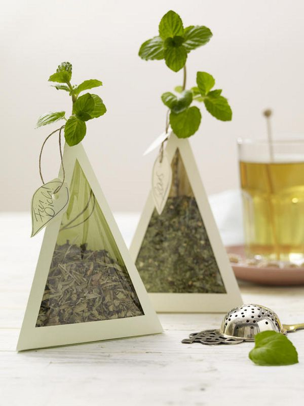 ♂ creative packing minimalist design Teepyramiden als Geschenk für Teeliebhaber. Is this a DYI tea bag?