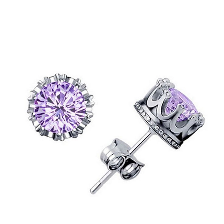 Princess Crown Lavender Stud Earrings + FREE SHIPPING!