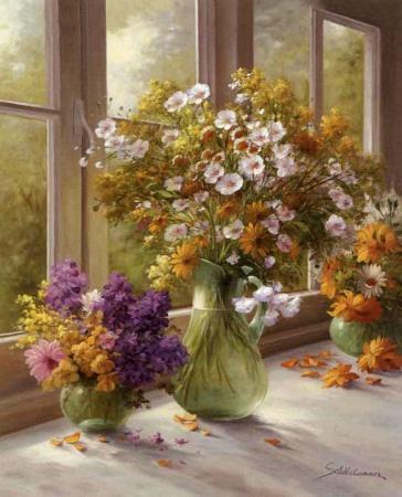 flower arrangements, windows
