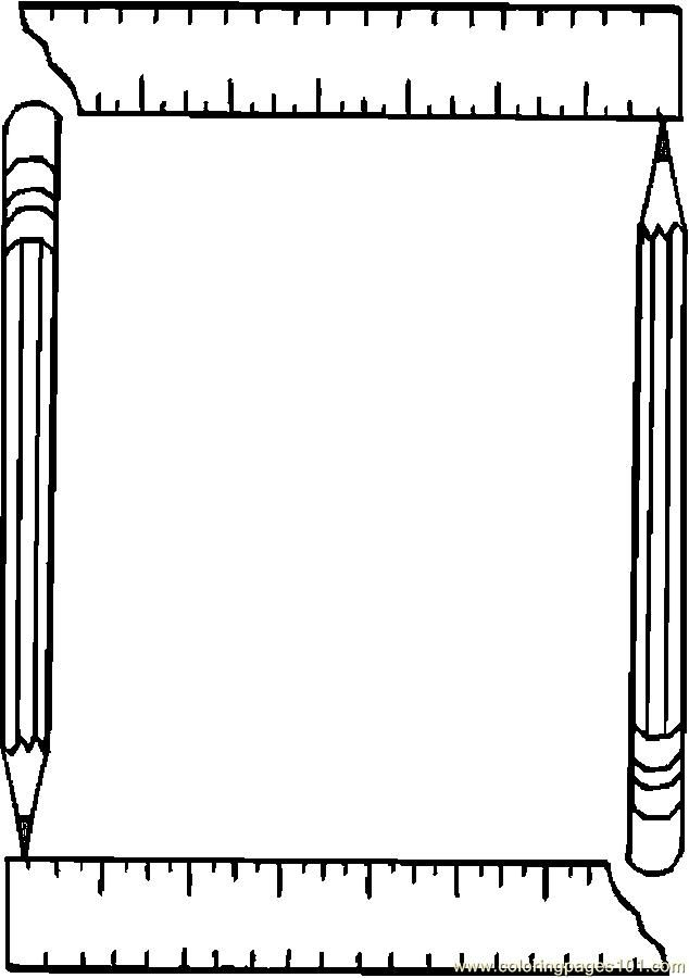 printable coloring page pencil ruler frame education school