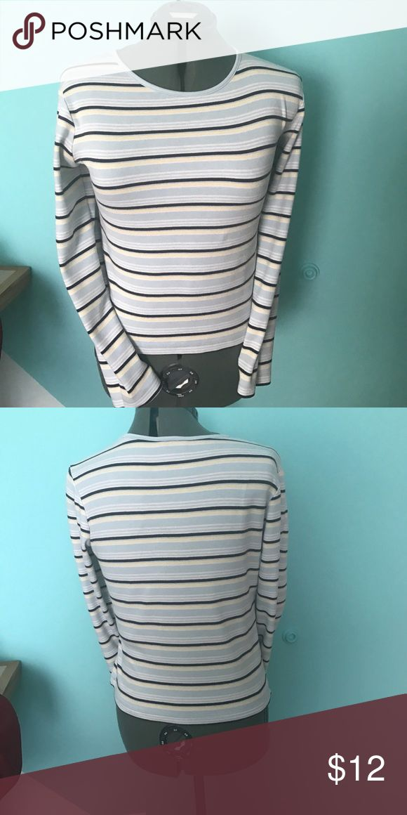 No Boundaries knit top Long sleeve No Boundaries knit top. Baby blue, yellow, navy, and white stripes. Women's size extra small. No Boundaries Tops Tees - Long Sleeve