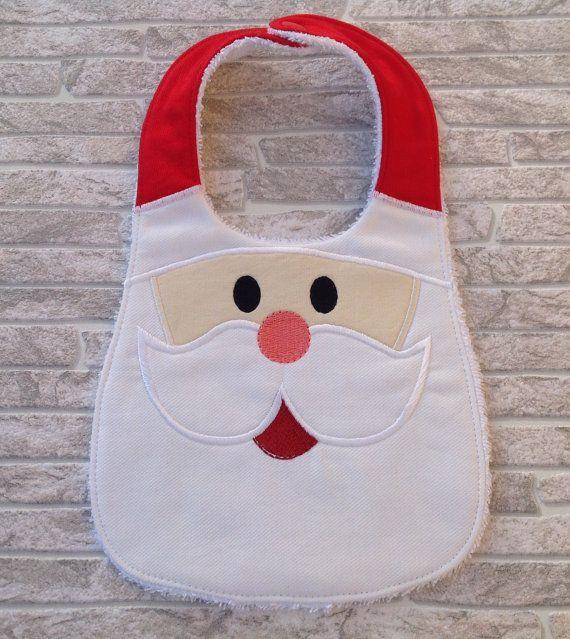 Santa baby bib by unfilotiralaltro on Etsy                                                                                                                                                     Más