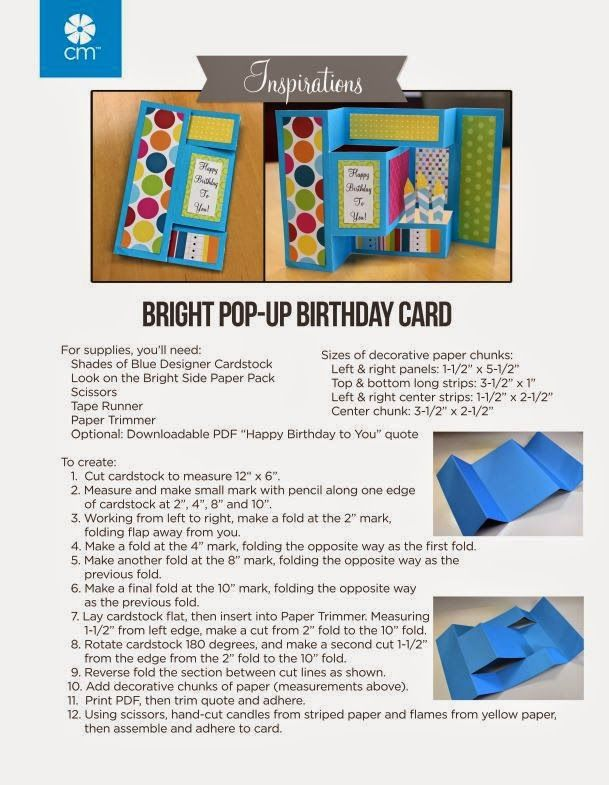 Jenny Rowan created this fun birthday pop-up card for us and you can make this too!     Supply list:   Shades of Blue Designer Cardstock ...