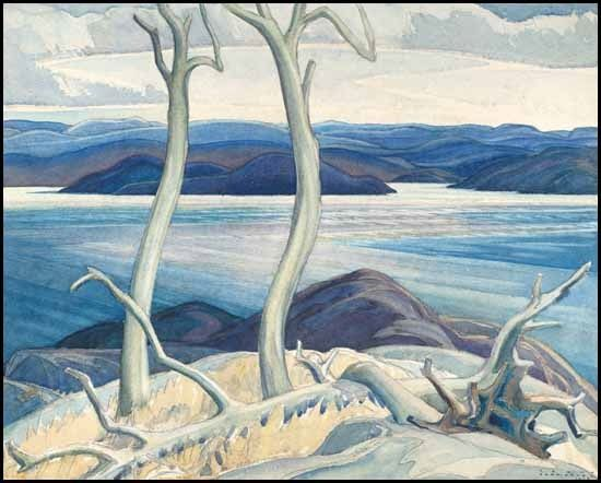 """Port Coldwell bay, North Shore, Lake Superior,"" Franklin Carmichael, 1928, watercolor, 17.2 x 21.3"", private collection."