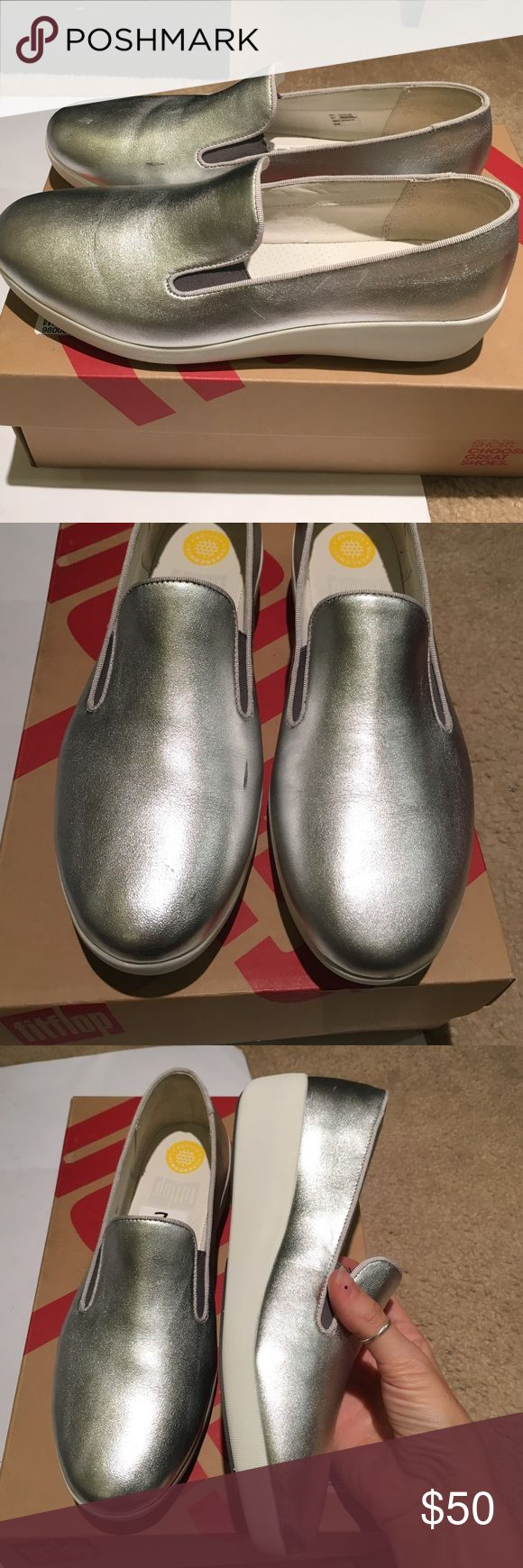 Fitflop wedge loafers new Brand new, used only as store displays fitflop silver leather wedge loafers. Has one minor scuff on side as shown in pictures. Meant to keep you fit while wearing! Comes in original box fitflop Shoes Wedges