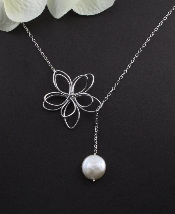 """Sterling Silver Jewelry - """"Garden Moon"""" Flower & Coin Pearl Necklace - bridal jewelry, birthday, anniversary, mother, best friend gift. $28.50, via Etsy."""