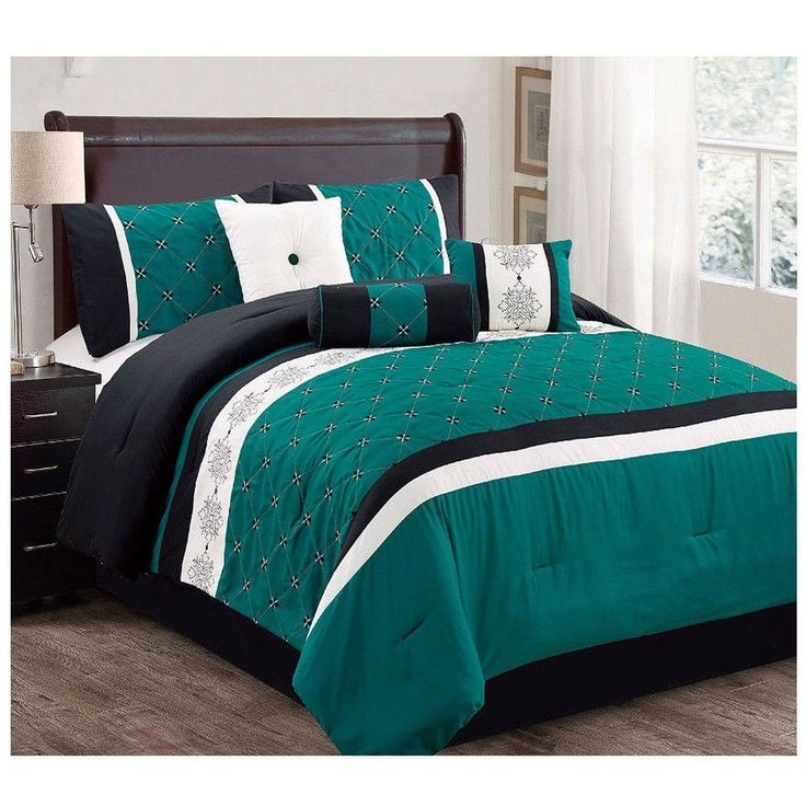 7 pc luxury comforter set green teal black modern with shams queen