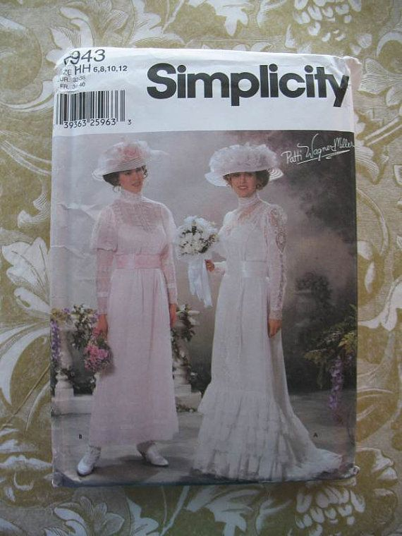 Simplicity pattern 5943 edwardian wedding dress tea gown for Victorian style wedding dress pattern