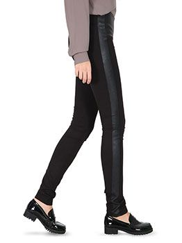 Celestino - Pants leggings with details from synthetic leather