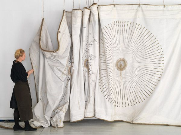 fiber art, hand stitching on old ships' sails - grethe wittrock