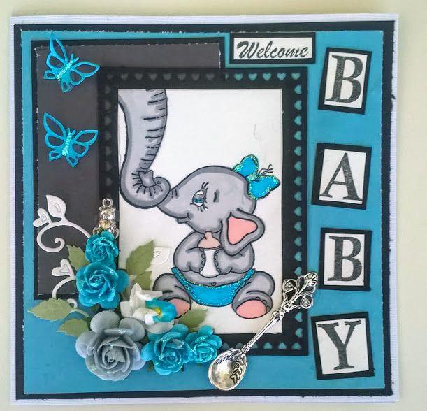 Följ gärna min pysseli instagram tessibessi84 Har gjort ett dop kort till en liten pojke, har använt en supersöt stämpel på en elefant och dess mamma. HHar lite smått och gott på kortet såsom fjäri…