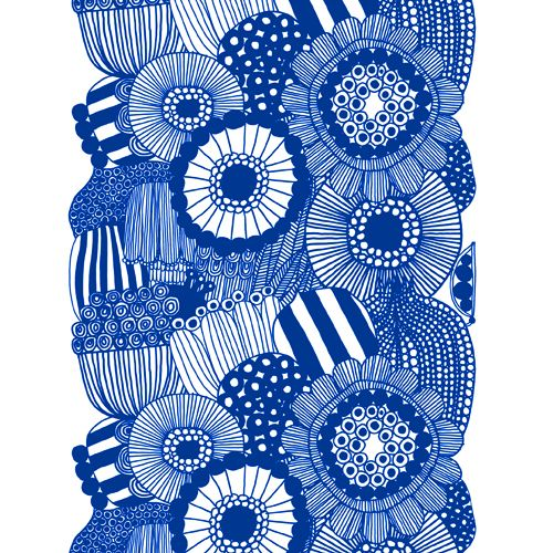 Blue and white Siirtolapuutarha print by Marimekko. #blue #white
