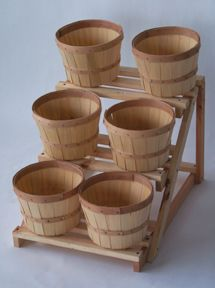 """Six Piece Wood Counter Display $48.95 Each Stand is 16""""H x 24""""D x 17""""W. Includes six 1/2 peck baskets. http://www.gershelbros.com/countertop-ss3.html"""