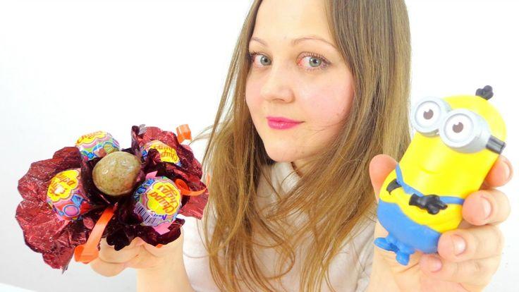 Букет из конфет своими руками. Миньоны делают поделку. Оригинальные подарки