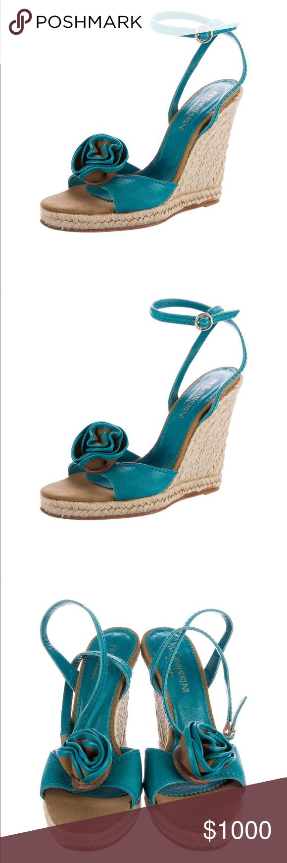 🆕YSL Teal Wedge Espadrilles Teal leather Yves Saint Laurent espadrille wedge sandals with rosette adornments at tops, tonal stitching, jute covered heels and buckle closures at ankles.   Please like this listing to be notified when available! Yves Saint Laurent Shoes Espadrilles