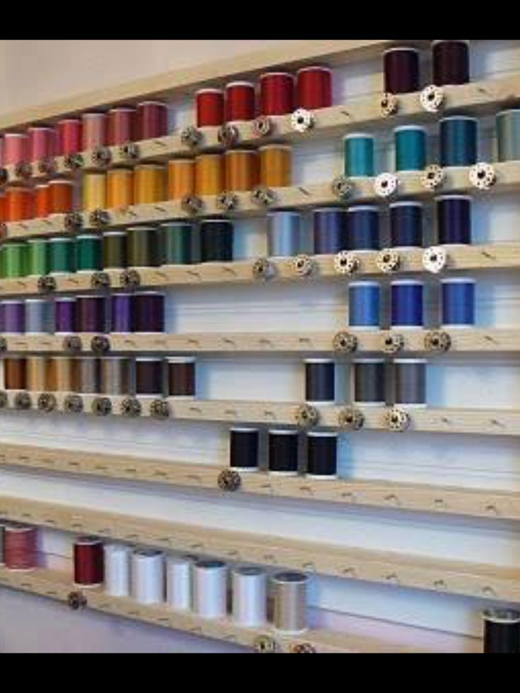 This is a fantastic way to keep track of thread! And those boards are somewhat cheap at Home Depot.