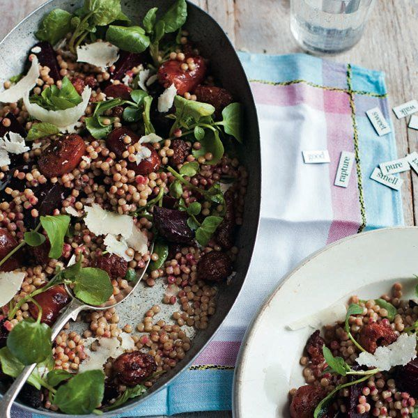 The tasty combination of chorizo and beetroot makes this salad recipe a simple dinner for four.