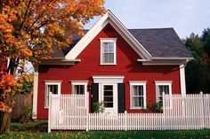 red houses with white trim - Google Search