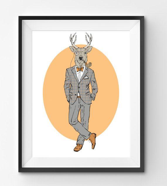 Male Deer Animal Print Fashion Animal Deer Digital Print