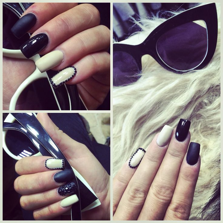 #nail #nails #black #beige #blackandbeige
