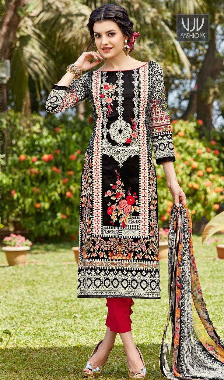Integral Black Cotton Febric Churidar Designer Suit  Make the heads turn whenever you costume up in this black and yellow cotton churidar designer suit. The embroidered work appears chic and fantastic for festival and party