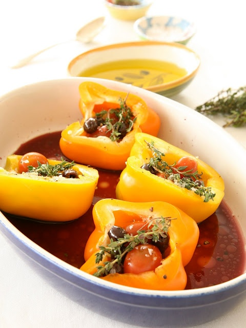 Roasted Peppers with Capers and Olives | gluten free vegan | Pinterest