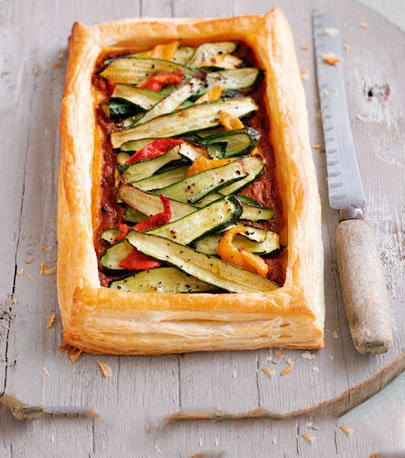 Liz McClarnons cheese and courgette tart