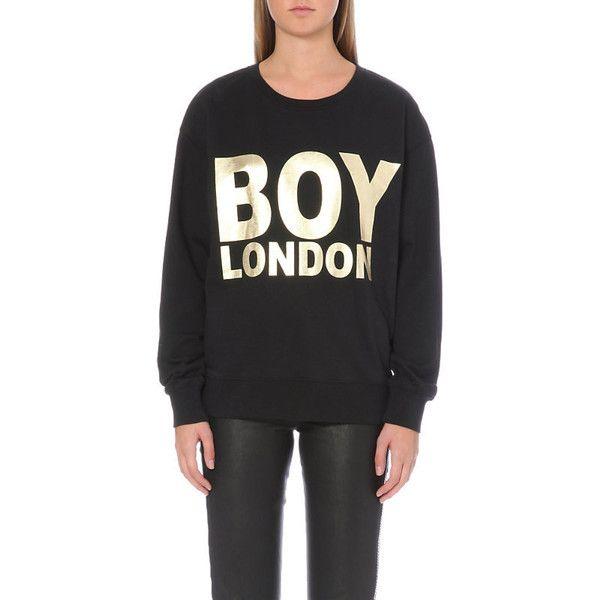 Boy London Metallic logo sweatshirt ($71) ❤ liked on Polyvore featuring tops, hoodies, sweatshirts, boy london sweatshirt, print top, logo top, patterned tops and patterned sweatshirt