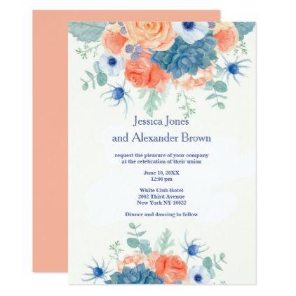 #Watercolor coral blue romantic floral Wedding Card - #weddinginvitations #wedding #invitations #party #card #cards #invitation #watercolor