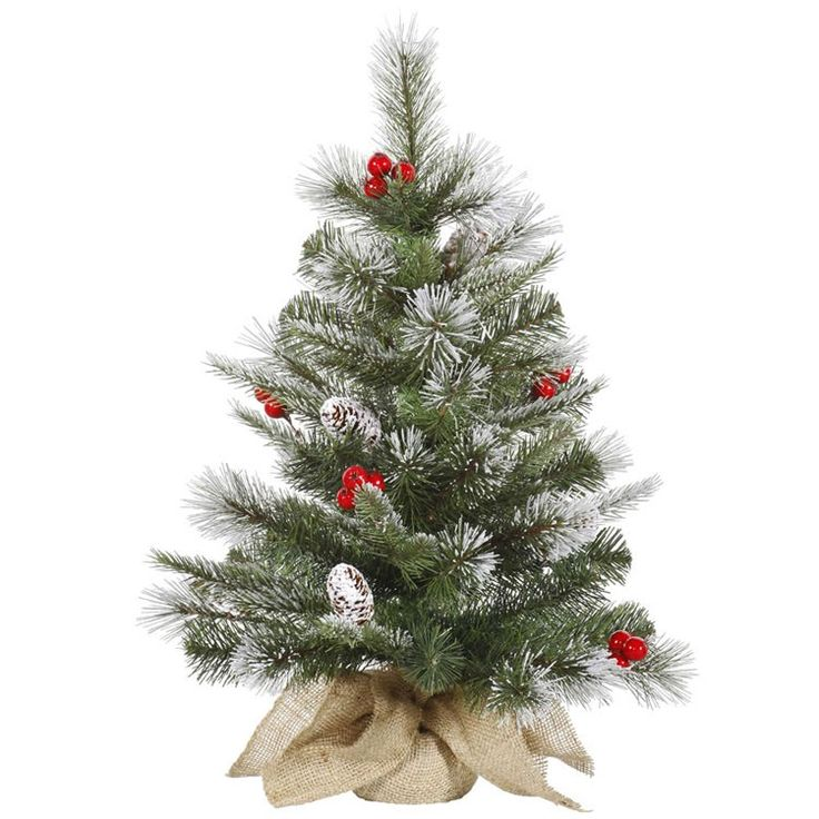 Christmas Tree Mixture Part - 15: Shop Online For This Durable 24 Inch Frosted Pine Berry Trees Tabletop Tree  Artificial Christmas Tree