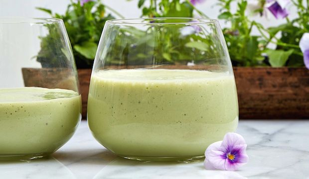 All Day Energizer Healthy Green Smoothie with Matcha, Avocado, and Banana