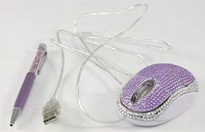 Perfect Life Ideas Bling Computer Mouse and Ballpoint Pen Set - USB Wired Ergonomic Scroll Wheel Mouse with Light for Laptop, Desktop Computers - FCC Approved - Bling Covered. Purple