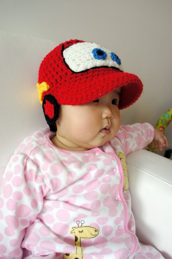 Lightning McQueen hat Cars hat Crochet Baby Hat by stylishbabyhats, $24.99   DONE!  BIG THANK YOU FOR THE INSPIRATION TO STYLISHBABYHATS FOR this ADORABLE Hat, it was my INSPIRATION for the Hat I made to go w/my 1st Baby Booties I made.  :)