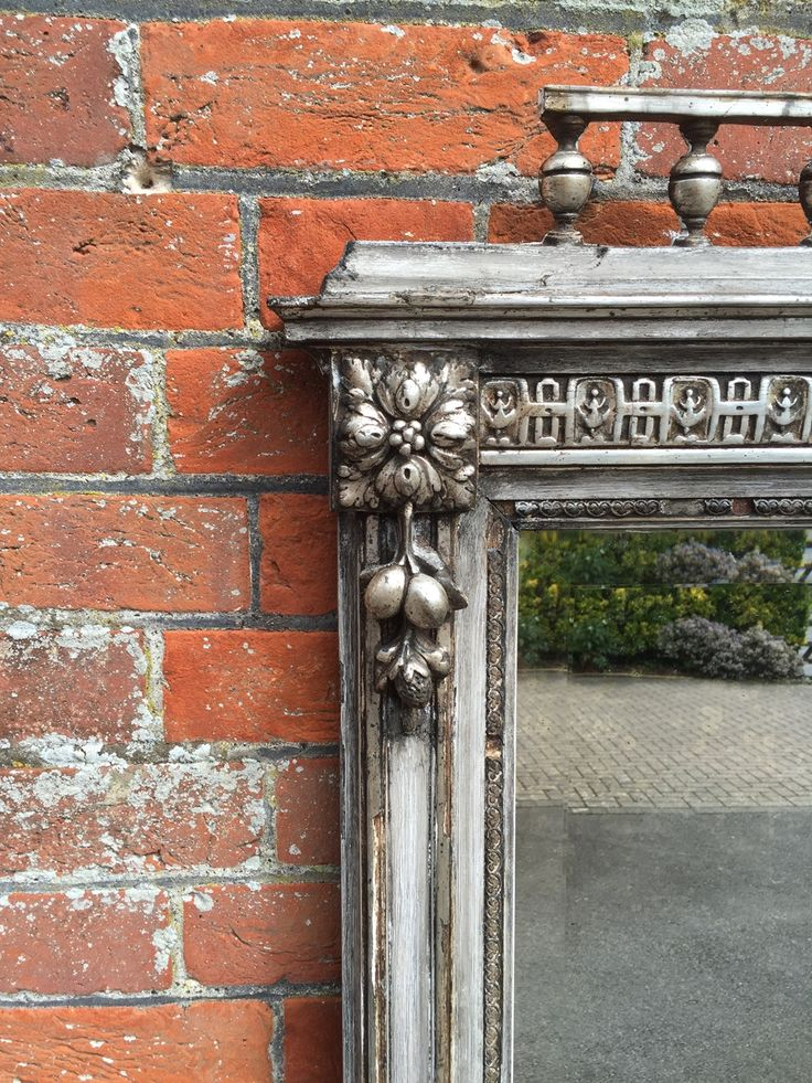 A Stunning highly decorative large Antique 19th Century French carved wood & gesso silvered & distressed painted Mirror.
