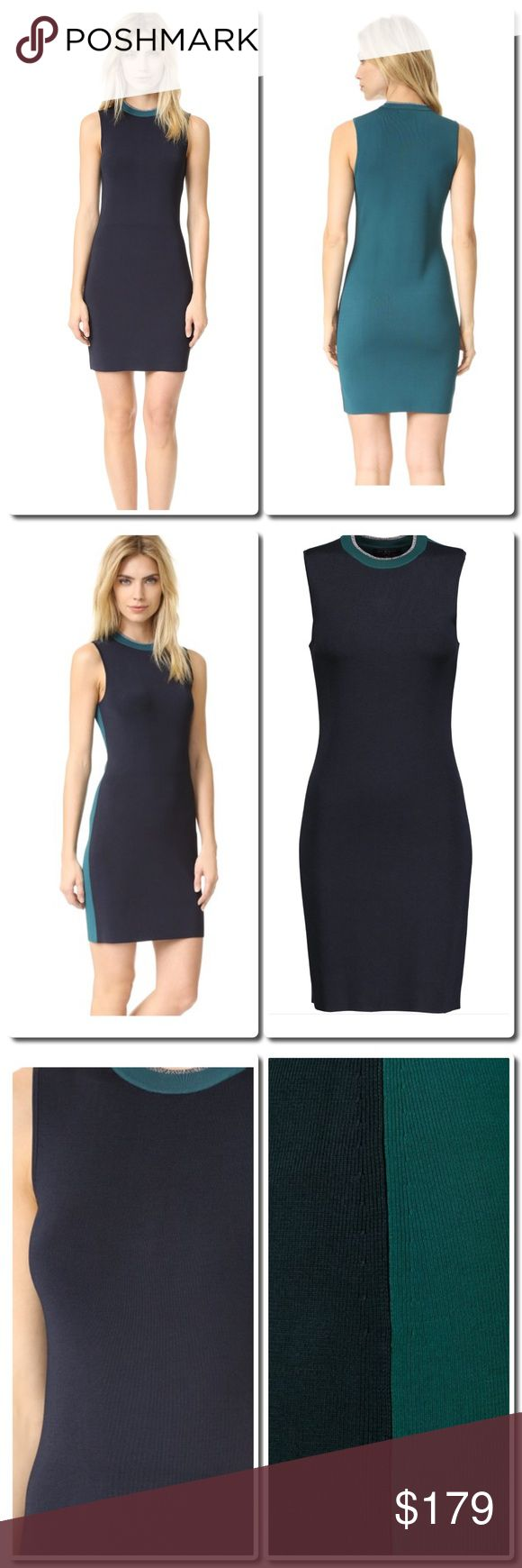 rag &a bone Color block Dress Rag & bone midnight-blue and petrol Lucine dress. Stretch-knit. Metallic ribbed neckline. Slips on. 86% viscose, 12% nylon, 2% spandex; trim: 79% viscose, 19% nylon, 2% spandex. Dry clean. Fits true to size, take your normal size. Designed for a close fit. Lightweight knit. Color: blue rag & bone Dresses Mini
