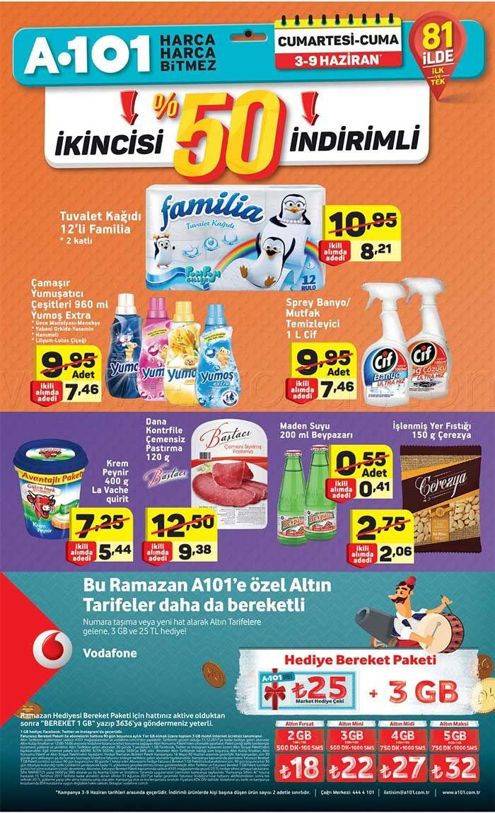 A101 aktüel ürün kampanyaları sürüyor. A101'de bu hafta3-9 Haziran 2017 tarihleri arasında geçerli olacak haftanın yıldızları kampanyasında birçok üründe indirimli fiyatlar sizleri bekliyor. İkincisi %50 indirimli ürünlerde familia tuvalet kağıdı ikinci ürüne özel 12'li 8.21 TL fiyatla satılacak. Yumoş çamaşır yumuşatıcı 7.46 TL, cif spray mutfak temizleyici 7.46 TL fiyatla ikincisi satılacak.