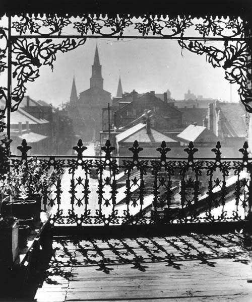 View from a French Quarter balcony on Orleans Street - 1940s