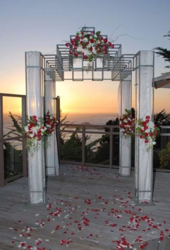 destination wedding, carmel, decorations, aisle decorations, altar decorations, flowers, petals, arrangements, rose, red, beach, outdoor Hyatt Carmel Highlands Ceremony Sites