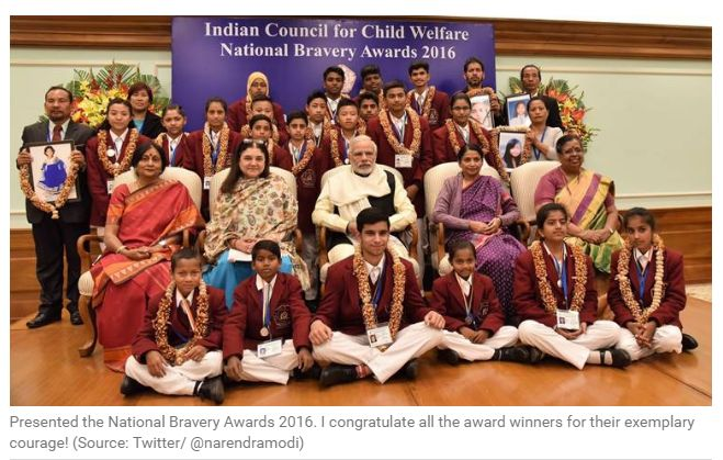 """National Bravery Awards: Make your mind strong, PM Narendra Modi to children """"""""""""Presented the National Bravery Awards 2016. I congratulate all the award winners for their exemplary courage,"""""""" Modi tweeted. Get Narendra Modi's & BJP's latest news and updates with - http://nm4.in/dnldapp http://www.narendramodi.in/downloadapp. Download Now."""""""