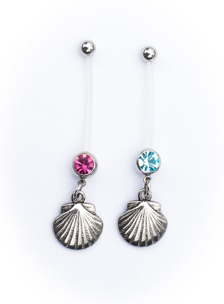 Amazon.com: Island Seashell Belly Ring Retainer Flexible Maternity Pregnancy Plus Size Retainer Ring. Nickel and Allergy Free - 14G / LOW SHIPPING (PINK): Clothing