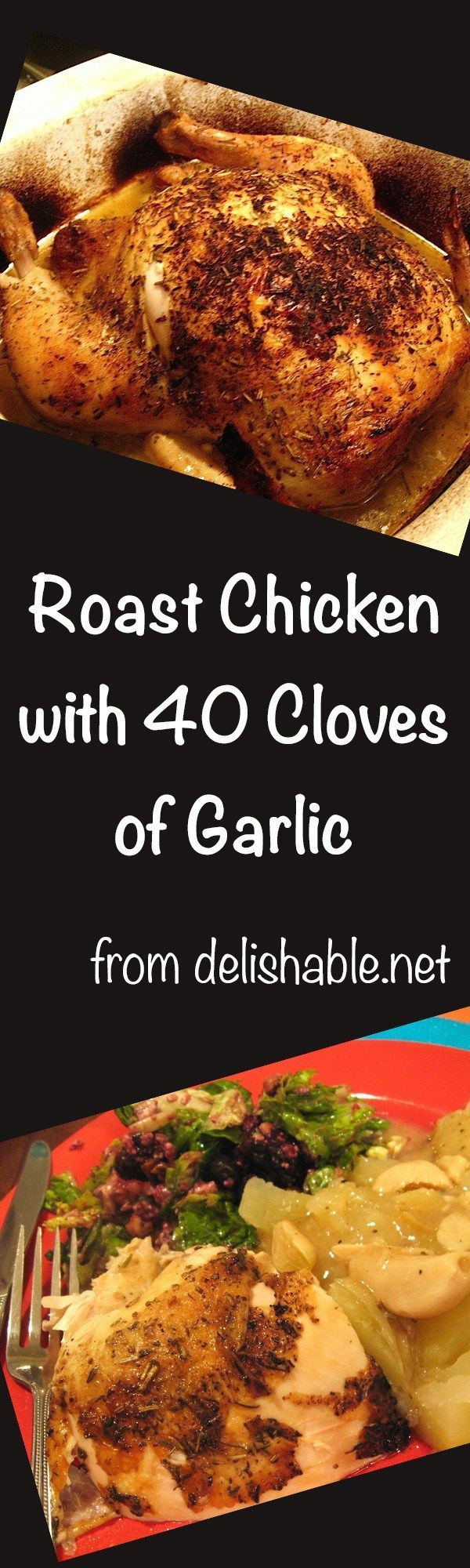 Roast Chicken with 40 Cloves of Garlic recipe - simmered in wine, the garlic mellows, giving the sauce a rich flavor, rivaling any favorite chicken entre. | delishable.net