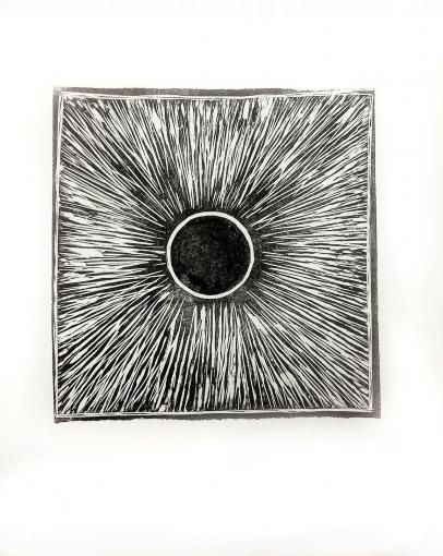 "Linocut ""Explosion II"" 2013 Tilda Evertson"